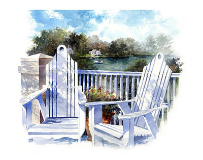 Railing Painting - Adirondack Chairs Too by Andrew King