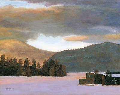 Winter Cabin Painting - Adirondack Morning by Lynne Reichhart