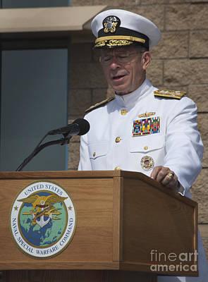 Admiral Mike Mullen Speaks Art Print by Michael Wood