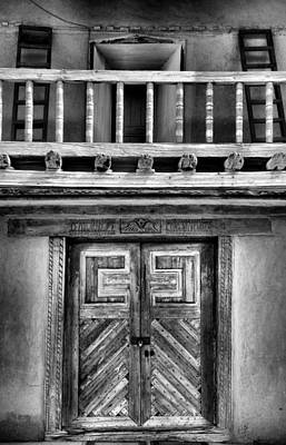 Adobe Church Door And Balcony Art Print by Steven Ainsworth