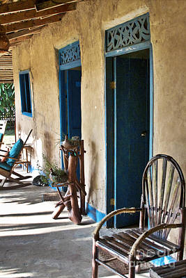 Rocking Chairs Photograph - Adobe House In Panama by Heiko Koehrer-Wagner