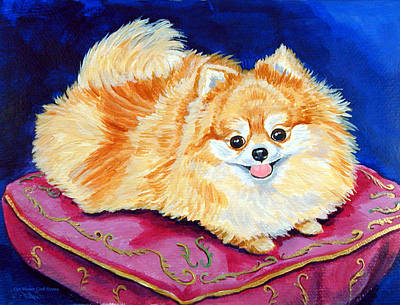 Pomeranian Painting - Adoration - Pomeranian by Lyn Cook