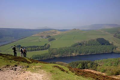 Adult Walkers In The Upper Derwent Valley, Overlooking Ladybower Reservoir, Peak District National Park, Derbyshire, England, Uk, Art Print by Dave Porter Peterborough Uk