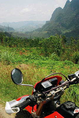 Handlebar Photograph - Adventure Motorbike Trip Through Mountains, Laos by Thepurpledoor