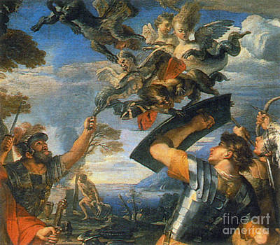 Photograph - Aeneas And His Companions Fighting by Photo Researchers