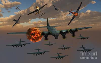 Digital Art - Aerial Combat Between German by Mark Stevenson