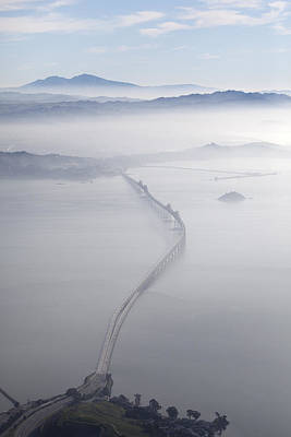 Aerial Landscape Of Richmond-san Rafael Bridge, Looking East With Clearing Morning Fog And Mt Diablo In Background, San Francasco Bay, California, Usa Art Print