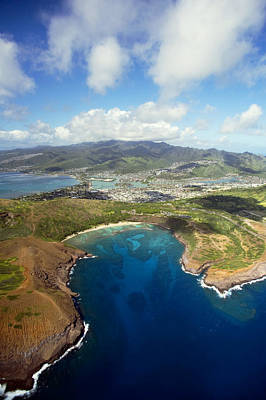 Aerial Of Hanauma Bay Print by Ron Dahlquist - Printscapes