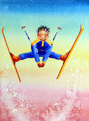 Painting Rights Managed Images - Aerial Skier 17 Royalty-Free Image by Hanne Lore Koehler