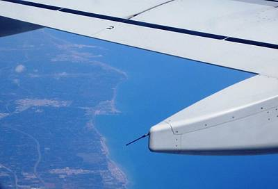 Photograph - Aerial View II Airplane Flying Over Valencia In Spain Headed East Towards The Mediterranean Sea by John Shiron