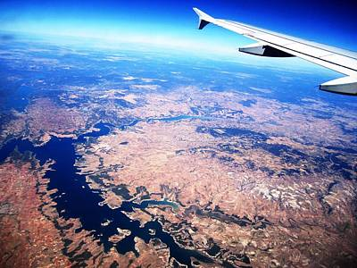 Photograph - Aerial View II With Airplane Wing On Take Off From Madrid Airport In Spain  by John Shiron