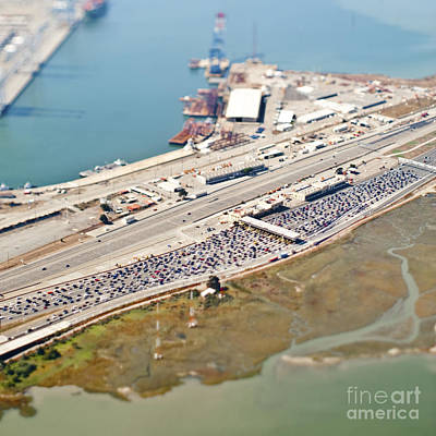 Industrial Complex Photograph - Aerial View Of Industrial Area And Bridge by Eddy Joaquim