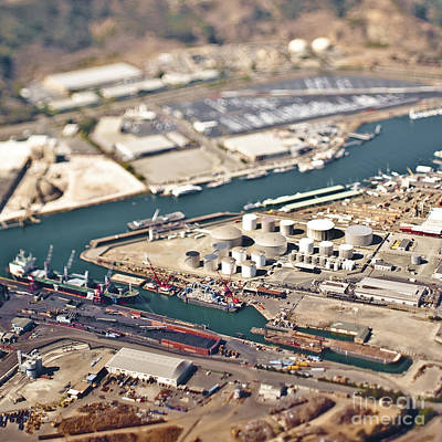 Industrial Complex Photograph - Aerial View Of Industrial Area And Seaport by Eddy Joaquim
