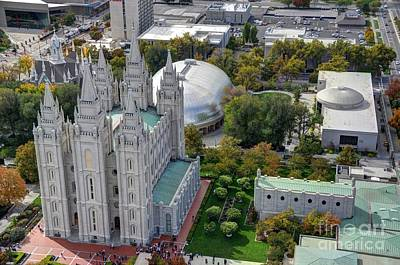 Soap Suds - Aerial view of Mormon - LDS - Temple Square in Salt Lake City - Utah by Gary Whitton