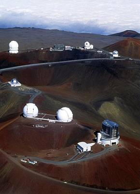 Keck Photograph - Aerial View Of Observatories At Mauna Kea, Hawaii by John Sanford