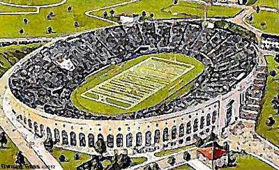 Painting - Aerial View Of Pitt Stadium In Pittsburgh Pa by Dwight Goss