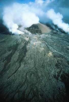 Aerial View Of Pu'u O'o Vent Of Kilauea Volcano Art Print by G. Brad Lewis