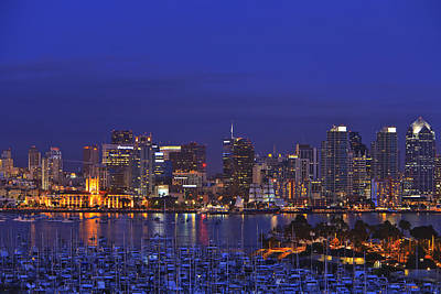 Aerial View Of San Diego Skyline With Print by Stuart Westmorland