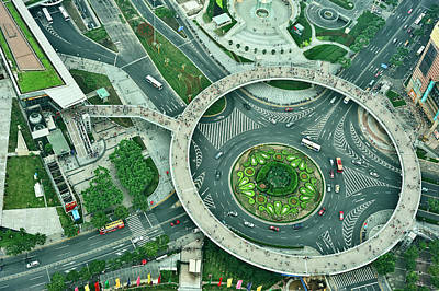 Aerial View Of Shaghai Traffic Art Print by Ixefra