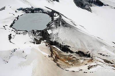 Aerial View Of Snow-covered Ruapehu Art Print by Richard Roscoe