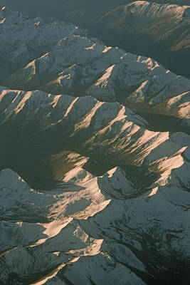 Aerial View Of Snowcapped Mountain Print by Gordon Wiltsie
