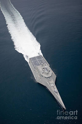 Photograph - Aerial View Of The Littoral Combat Ship by Stocktrek Images
