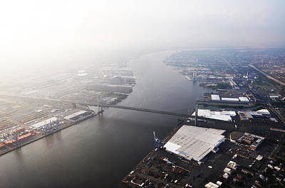 Aerial View Of The Walt Whitman Bridge On The Delaware River Art Print by Bill Cannon