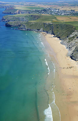 Y120831 Photograph - Aerial View Of Watergate Bay by Allan Baxter