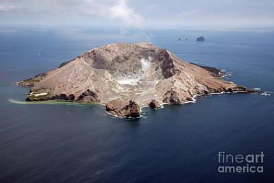 Aerial View Of White Island Volcano Art Print by Richard Roscoe