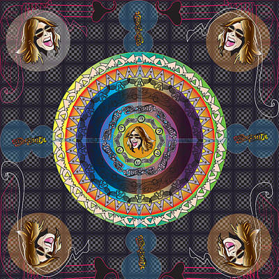 Steven Tyler Digital Art - Aerosmith Mandala by Mike  Haslam
