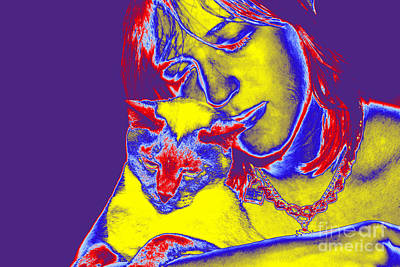 Photograph - Affectionate Teen And Cat 2 Digital by Susan Stevenson
