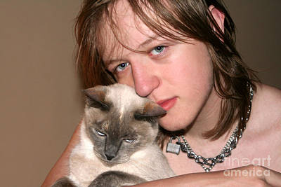 Photograph - Affectionate Teen And Cat by Susan Stevenson
