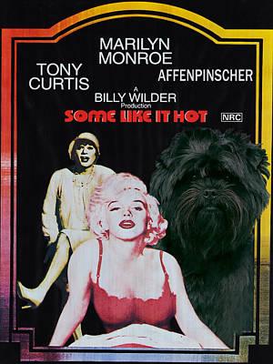 Affenpinscher Painting - Affenpinscher Some Like It Hot Movie Poster by Sandra Sij