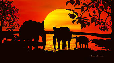 Elephants Digital Art - Africa by Robert Orinski