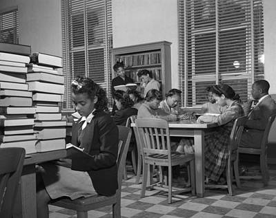 African American Students Reading Print by Everett