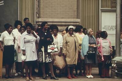 African Americans Mostly Women Waiting Print by Everett