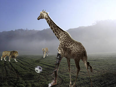 Disability Digital Art - African Animal Soccer by Nafets Nuarb
