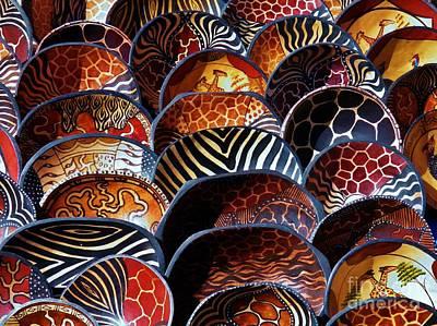 African Art  Wooden Bowls Art Print