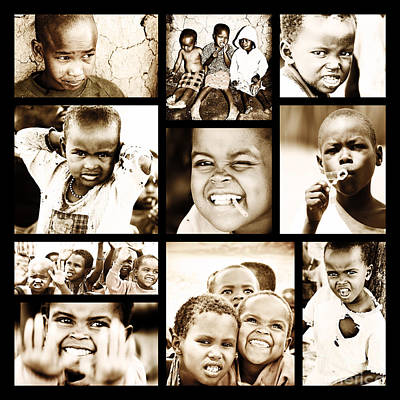 Photograph - African Children Collage by Anna Om