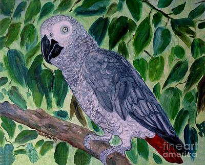 African Gray Painting - African Gray  by Julie Brugh Riffey
