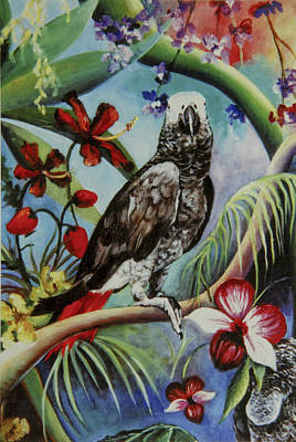 African Gray Painting - African Gray by Liz Hutchinson