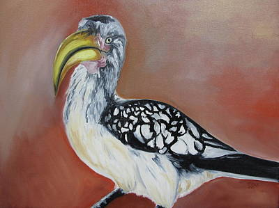 Hornbill Painting - African Ground Hornbill by Mary Rimmell