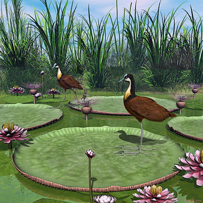 Digital Art - African Jacana by Walter Colvin