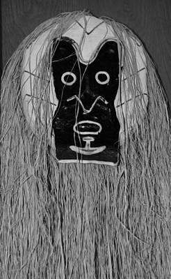 Digital Art - African Mask In Black And White by Rob Hans