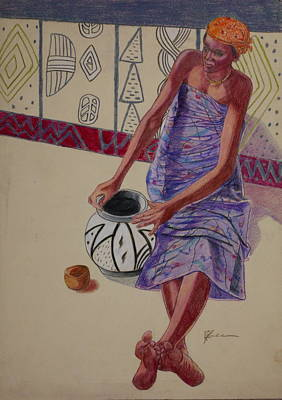 Drawing - African Painter 3 by Pamela Mccabe