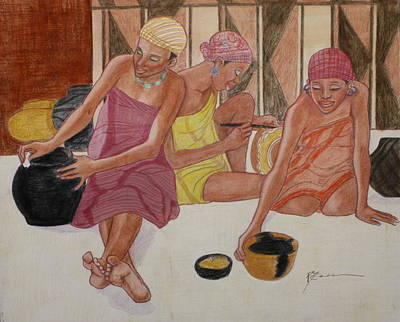 Drawing - African Painters 2 by Pamela Mccabe