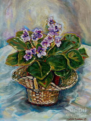 Table Cloth Painting - African Violets by Carole Spandau