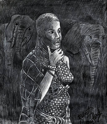 African Women Drawing - African Woman by Bob Crawford