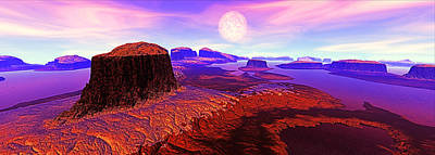 Mountains Digital Art - After Dawn, Panorama Digitally Generated by Raj Kamal