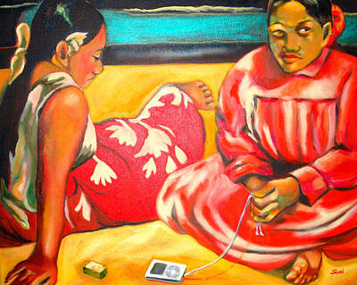 Music Ipod Painting - After Master Gaugin-my Own Homage by Susi Franco